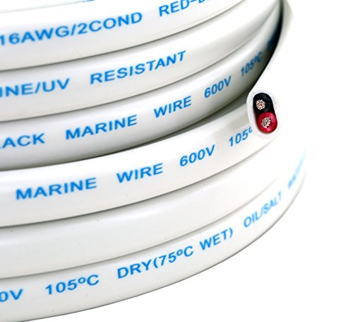25FT 16 Gauge White Marine Wire Tin Copper Plated OFC Speaker Cable 2 Conductor