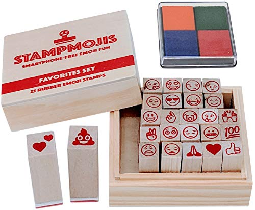 Stampmojis Emoji Stamps - Favorites Wooden Rubber Stamp Set w/ 4-Color Ink Pad | Great Educational Toys, Art Set, Craft Kit, Teacher Gifts, Emoji Stocking Stuffers for Kids