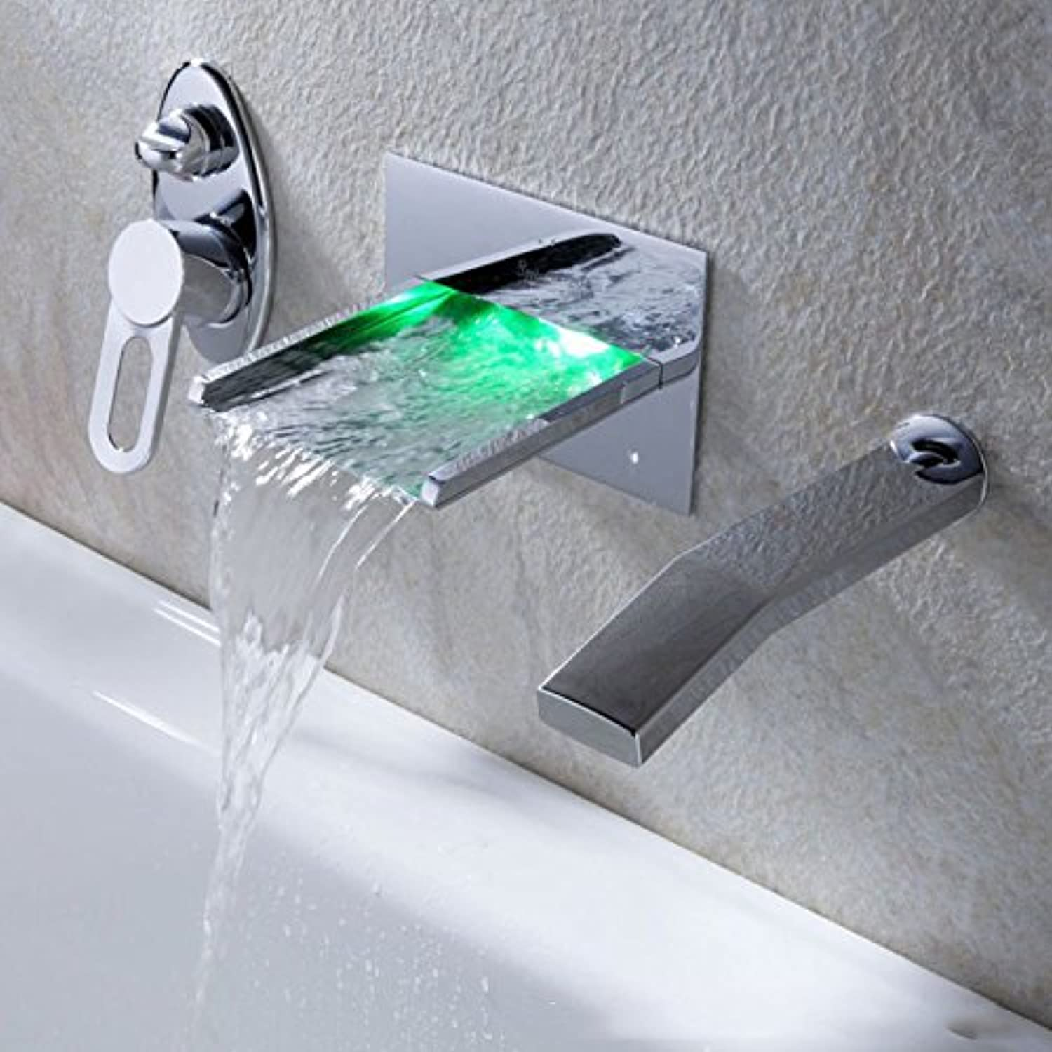 ZHFCBasin faucet LED temperature control all copper basin hot and cold water tap