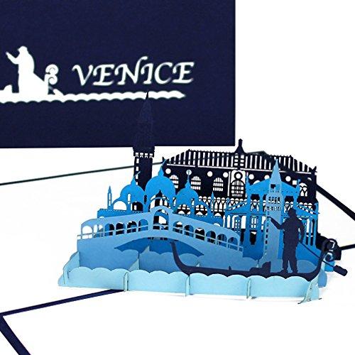 """Pop Up Karte """"Venedig – Panorama & Gondelfahrt"""" - 3D Grußkarte als Souvenir, Geburtstagskarte, Reisegutschein, Einladung zur Städtereise, Honeymoon, Hochzeitsreise & Verlobung"""