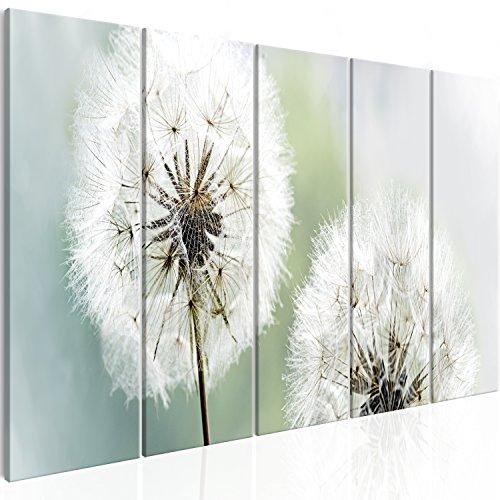 murando Cuadro Acústico Diente de león 225x90 cm - decoración de Pared - Lienzo - 5 Piezas - Cuadros XXL - Panel de Pared – Silencio - Flores b-C-0197-b-m