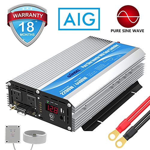 GIANDEL 2200W Pure Sine Wave Power Inverter 12V DC to 110V 120V AC with 20A Solar Charge Control and Remote Control&LED Display and Dual AC Outlets &1x2.4A USB Port for RV Truck Car Solar System