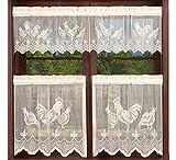 Cortina de Cocina Transparente Cenefa para Ventanas, Pollos de Color Blanco, decoración de Ventanas con Forma de Animal para Cafe Bistro, 1 Pieza de 150 x 36 cm, 2 Piezas de Ancho 75 x 60 cm