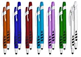 Stylus Pens - 2 in 1 Touch Screen & Writing Pen, Sensitive Stylus Tip - for Your iPad, iPhone, Kindle, Nook, Samsung Galaxy & More - Assorted Barrel Colors, Black Ink, 14 Pack