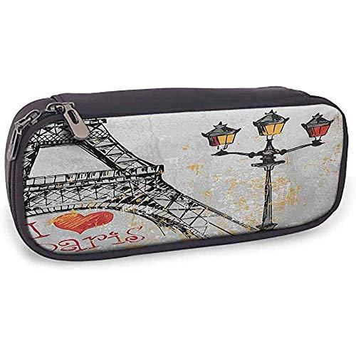Weiche Bleistift-Tasche Paris schöne Muster-Schmutz-Illustration von Eiffel mit Laternen-europäischem Lebensstil-Kultur-Grafik-rotem schwarzem Gelb