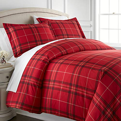 Southshore Fine Living, Inc. Vilano Plaid Collection - Premium Quality Over-Sized 3-Piece Duvet Cover Set, Full/Queen, Red