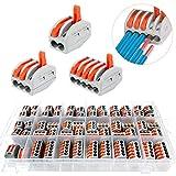 60Pcs Compact Connettore,Morsettiere elettriche,Morsetti Elettric,Conduttore Compatto Connettore,Morsettiera Cavo Connettore Rapido,30 pezzi 2 fori,20 pezzi 3 fori,10 pezzi 5 fori (A)