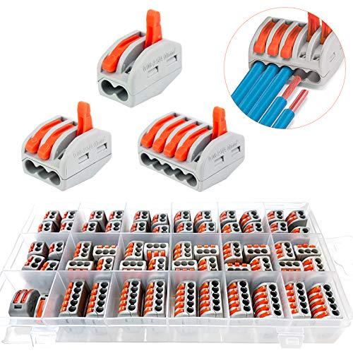 60Pcs Conector de cable,Kit conector,Conectores eléctricos rapidos,Conectores Eléctricos Rapidos con Palanca,Bornes de...