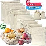 Sac legumes reutilisable | sac a vrac | Ecologique reutilisable | Sac a Pain tissu | Sac vrac | Sac reutilisable | Zero déchet | Sac tissus |Tailles (3L 3M; 4S)-Lot de 10 sacs Facile à laver