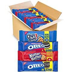 This package contains 12 king size packs: 2 each of OREO Original & Mint Flavored Creme Cookies, CHIPS AHOY! Original & Chunky Cookies, & Nutter Butter Cookies; & 1 OREO Golden & Double Stuf Cookies. These treats are iconic There's nothing like creme...