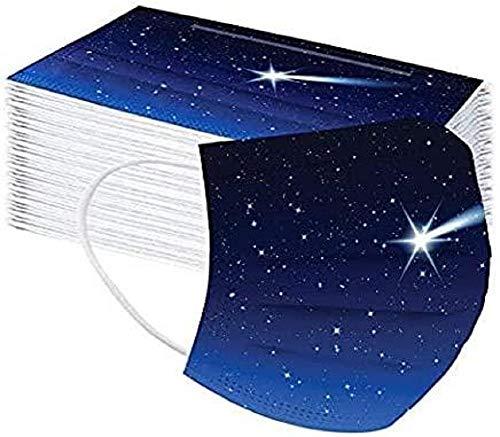 RENREN 50 Stück – Schutzhülle, atmungsaktive Ohrbügel, 3 Schichten, schützt den Mund, geeignet für Outdoor-Aktivitäten, Schule, Freunde, Parks (Sternenklarer Himmel)