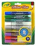 Crayola 693527A015 Penne con colla glitterata, lavabile, Colori Assortiti, Confezione da 9 pezzi