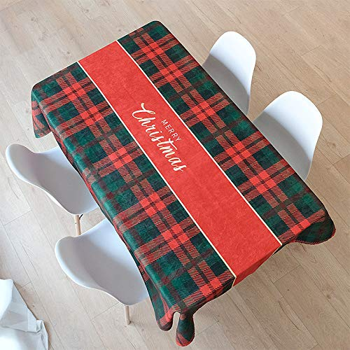 HTUO Tablecloth Christmas Decoration Red Green Grid Table Cover Cotton Polyester Rectangle Table Cloth Cover Buffet Decoration Kitchen Dinning Party Living Room Outdoor 85 * 85cm