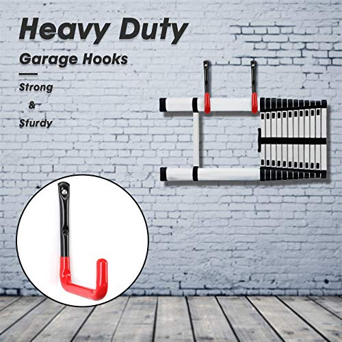 Garage Storage Utility Hooks Heavy Duty, Wall Mounted Ladder Hanger Organizer for Hanging Bicycle, Garden Hose, Folding Chairs and Tools(6 Pack, Red)