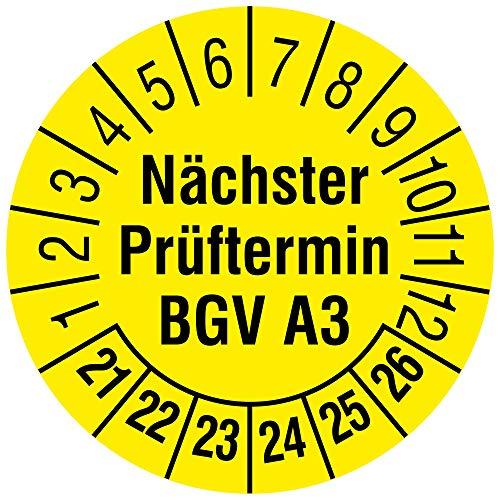 """Labelident Mehrjahresprüfplakette Nächster Prüftermin BGV A3"""" 2021-2026 - Ø 30 mm - 144 widerstandsfähige Prüfplaketten in der Packung, Vinylfolie, gelb, selbstklebend"""""""