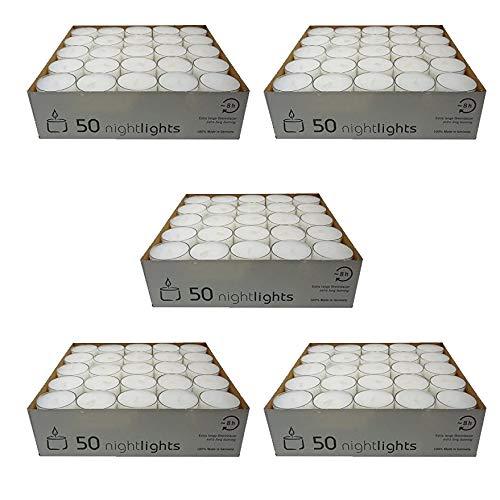 Wenzel-Kerzen Cinco paquetes de velas Lumino h25mm, 8 horas de combustión lenta, color blanco, diámetro 38 mm