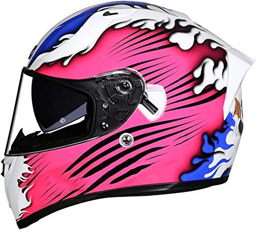Casco Moto Integral ECE Homologado, Casco De Moto ABS Cascos de Motocross Casco de Motocicleta con Doble Visera (transparente + ahumado),para Mujer Hombre Adulto C,M