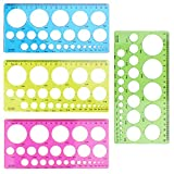 Aylifu 4 Pieces Plastic Template Ruler Circles Drawing Stencil Geometric Tool Multifunction for Office School Home Kids