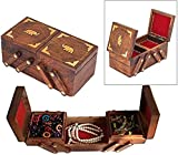 Valentine Gift'Crafted Elephant Designed Wooden Treasure Chest Three' Folding Elephant Storage Box Perfect Wooden Jewelry Boxes for Women,Girls 8 x 4 inches - Vintage Box