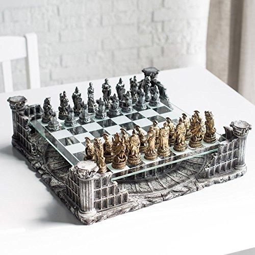 "16.25"" Roman Gladiators 3D Chess Set, Bronze & Silver Color"
