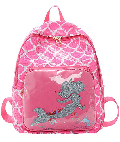 HICCUPfish Flip Sequin School Bookbag with Bling Magic Cute Mermaid for Girls Kids Lightweight Travel Backpack Daypack (Scale Pink)