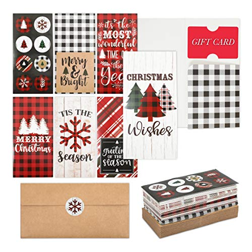 Christmas Money Cards with Envelopes with Stickers, Buffalo Plaid (36 Pack)