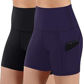 Tuopuda Leggings Donna Fitness Pantaloncini Sportivi Vita Alta Fitness Yoga Shorts con Tasca Laterali Pantaloni Corti Legg...