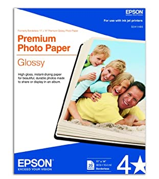Epson Premium Photo Paper GLOSSY  11x14 Inches 20 Sheets   S041466