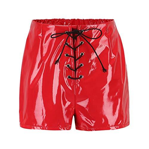 Babydoll Sexy Body Damen Wetlook Leder Kurze Hose Minikleid Reizwäsche Erotische Dessous Nachthemd Erotic Lingerie Sleepwear XXL