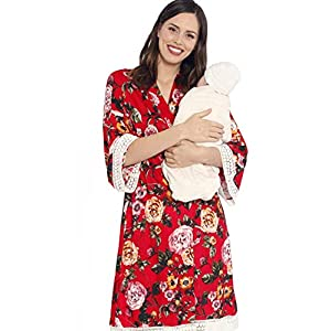 Angel Maternity 3 in 1 Birth Kit: Hospital Gown + Maternity Gown, Nursing Dress and Baby Blanket Labor Kit