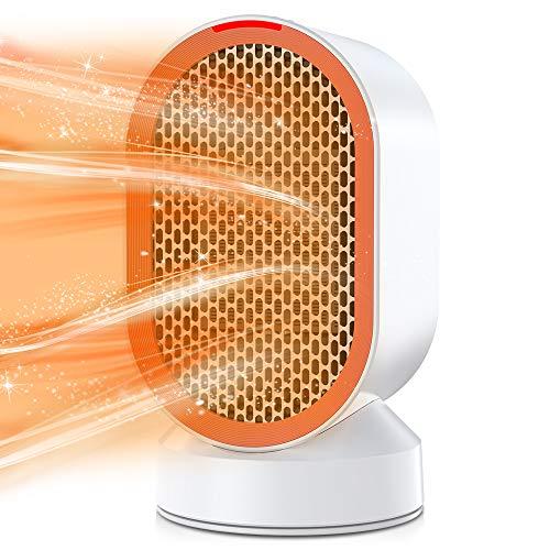 Radiateur soufflant en céramique, chauffage électrique 600 W avec protection contre la surchauffe et le renversement, chauffage rapide, chauffage personnel avec modes de vent chaud/naturel