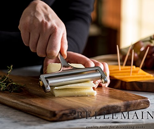 Bellemain Adjustable Thickness Cheese Slicer - Replacement Stainless Steel Cutting Wire Included - 1-year Warranty