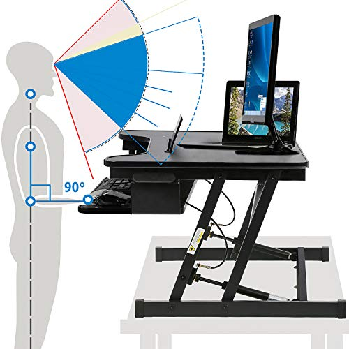 Standing Desk 32 inch Height Adjustable Sit to Stand Standing Desk Converter Stand Up Desk with Keyboard Dual Monitor for Home Office (Black)