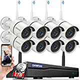 OHWOAI 【2021 Update.Audio】 Security Camera System Wireless, 1TB Hard Drive Pre-Install 8 Channel 1080P NVR, 8PCS 1080P 2.0MP CCTV WI-FI IP Cameras for Homes, HD Surveillance Video Security System.