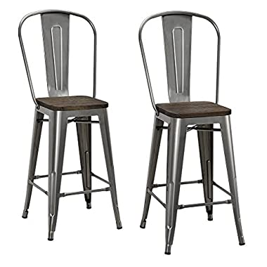 DHP Luxor Metal Counter Stool with Wood Seat and Backrest, Set of two, 24 , Antique Gun Metal