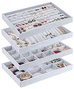 UIUIX Stackable Velvet Jewelry Trays Organizer for Drawer Velvet Jewelry Storage Display Trays Earring Necklace Bracelet Ring Organizer Set of 4  Grey