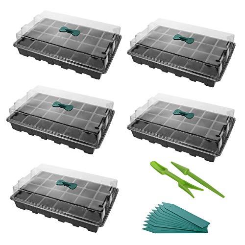 ANBET 5 Set de bandejas de cultivo de plantasBandeja de inicio de plántulas fuertes Mini propagador con domo de humedad, etiquetas de plantas y kit de herramientas manuales (24 celdas por bandeja)