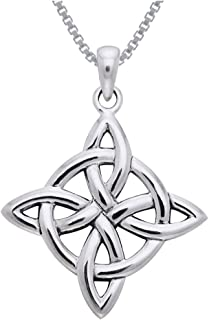 Celtic Good Luck Knot Sterling Silver Pendant Necklace 18
