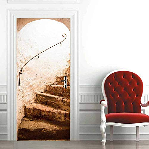 Etiqueta engomada de la puerta 3D de los pasos de piedra, calcomanías murales de PVC para la decoración del hogar del arte 30.3x78.7 (77x200cm)