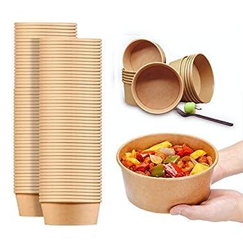 30 Oz Large Paper Bowls 80 count Disposable Soup Bowls Plastic Free Party Supplies for Hot/Cold Food Soup  30