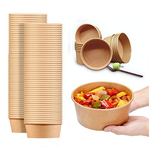 24 Oz Large Paper Bowls, 90 Pack Disposable Soup Bowls Plastic Free Party Supplies for Hot/Cold Food, Soup