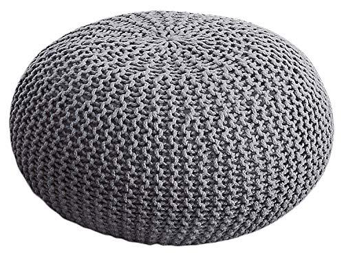 casamia Premium Pouf waschbar Strickhocker Sitzpouf Sitzpuff 100% wasserfest Sitzhocker Bodenkissen Sitzgelegenheit Grobstrick-Optik Ø 55 x 37 cm EXTRAGROSS Farbe grau - Silbergrau