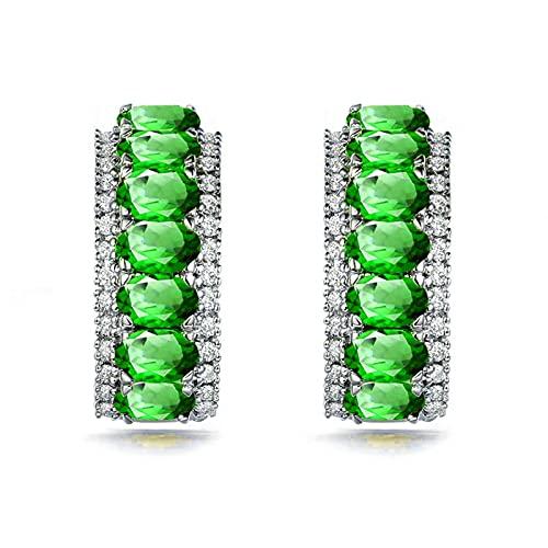 KnSam Pendientes de plata, elegantes pendientes para mujer, plata 925, perlas de plata 925, anillo de boda verde plata para mujer