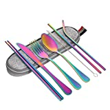 Chutoral 8PCS Stainless Steel Utensils Portable Cutlery Set Reusable Utensils Includes Fork Knife Chopsticks Spoon Clearing Brush Straws Storage Bag