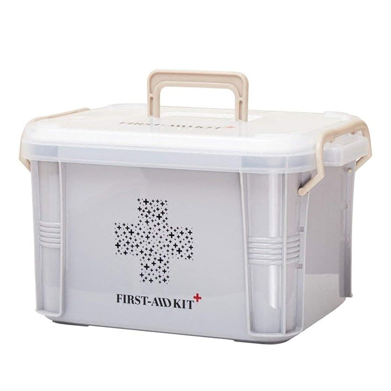 ロマンチック裂け目うねるSaikogoods 実用的なデザインホーム用薬箱ファーストエイドキットボックスプラスチック容器の救急キットポータブルストレージオーガナイザー グレー S