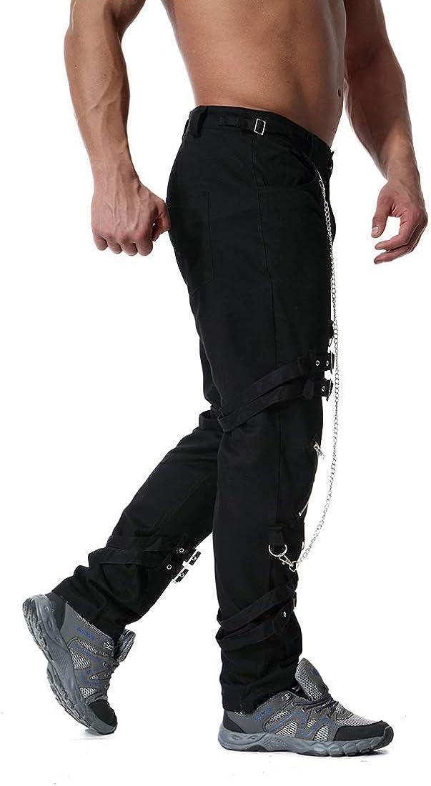 Cicilin Mens Cargo Gothic Pants Fashion Hiphop Rock Punk Sport Harem Jogger