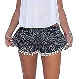Verano Imprimio Los Pantalones Cortos De Cintura Elastica Mujeres De Playa Pantalones Cortos Borla Informal (M, Negro)