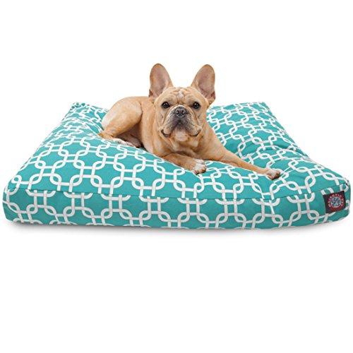 Teal Enlaces Rectangular, tamaño pequeño Mascota Perro Cama con Funda Lavable de Majestic de Interior al Aire Libre Productos