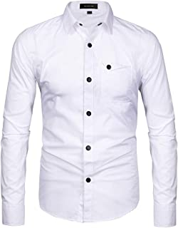 Musen Men Long Sleeve Dress Shirt Casual Solid Color Button Down Slim Fit Military Shirts with Pocket