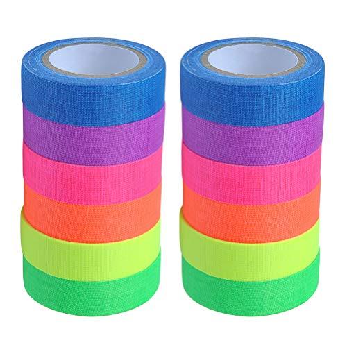 YOTINO 12 Stück 6 Farben Fluorescent Tape Neon Klebeband Gewebeband Tape Neon Fluoreszierend Klebeband